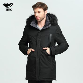 HAI YU CHENG Men's Parka Jacket Windbreaker Male Trench Coats Winter Parkas Jacket Men Cotton Padded Long Coat Anorak 2017 L1809