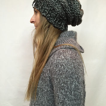 Knit Slouchy Hat Beanie Beehive Vegan Ice Gray Warm And Cozy