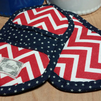 Holiday mini potholders, red, white, blue