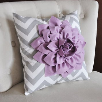 Lilac Dahlia on Gray and White Zigzag Pillow by bedbuggs on Etsy