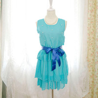 SALE Prom Party Sky Blue Ruffles Layers Pearl Deco puff chiffon dress navy Sash Ballerina  S