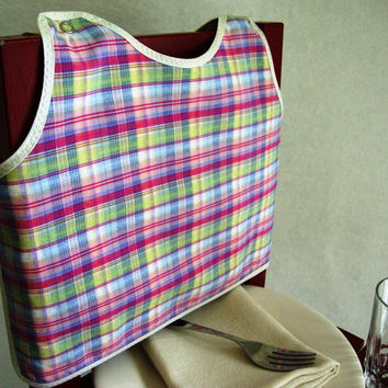 Pink Plaid Bib by maddywear