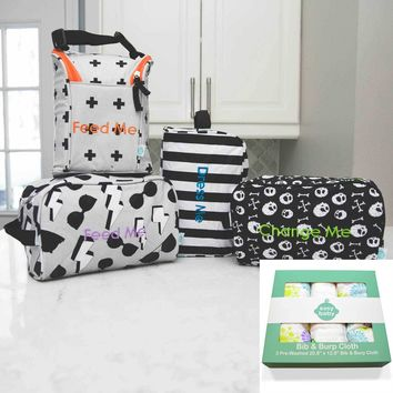 Easy Baby Travelers Starter Set and 3 Pack Burp and Bib Combo Bundle