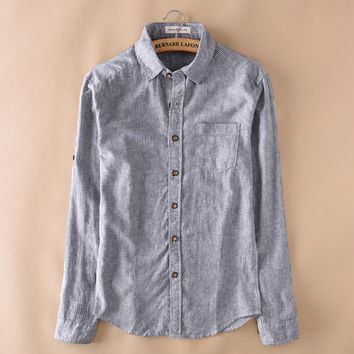 Spring Long Sleeve Linen Shirts Men