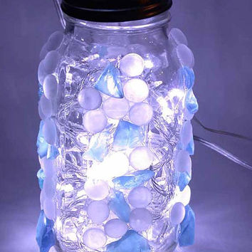 Pure White LED Lighting Big Mason Jar Frosted White Blue Sea Glass Lamp Table Lamp Light Foyer Restaurant Light Shabby Chic Wedding Light