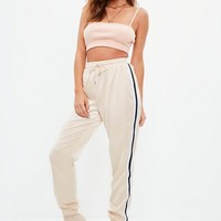 Missguided - Nude Satin Cuffed Jogger