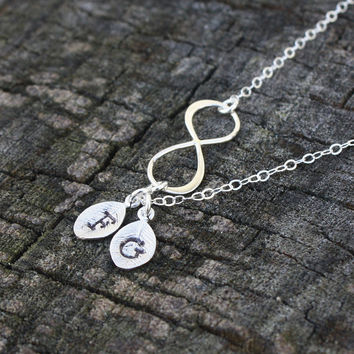 Personalized Silver Infinity Necklace - Sterling Silver Sideways Infinity Pendant . Two Initials . Monogram Necklace . Gift for Mom, Mother