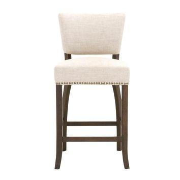 Oscar Counter Stool Bisque French Linen, Rustic Java Oak | Gold Nails