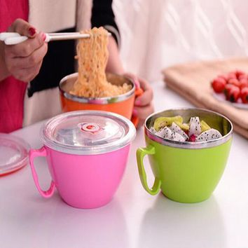 1Pc Multifunction Lunch Box Salad soup Instant Noodle bowls Heat insulation Stainless Steel Bowls ice cream lunch box Cookware