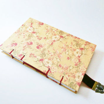 Handmade Journal | Coptic Diary | Unlined | Writing Journal | Gift for Writer | Romantic Journal | Velvet Bookmark | Travel Journal | Floral