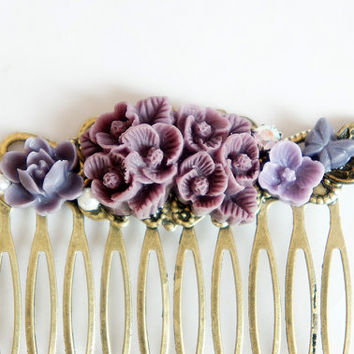 Purple Flower Shabby Chic Collage Comb - OOAK Victorian Style Shabby Chic Flower Collage Hair Comb - Pearl Rhinestone Flower - VCC002