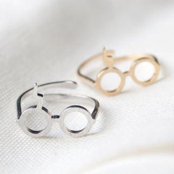 Harry Potter Ring, glasses Lightning Scar ring, Adjustable ring