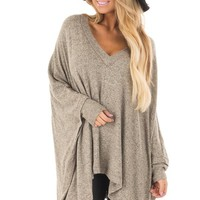Taupe Soft Knit V Neck Poncho Style Top