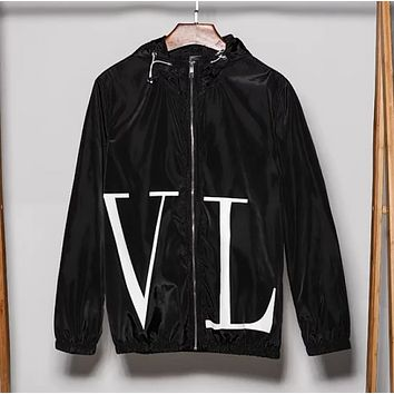 Valentino Fashion New Big Letter Print Hooded Leisure Long Sleeve Coat Windbreaker Black