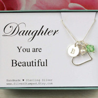 Daughter necklace gift Sterling Silver birthstone necklace, initial necklace, daughter jewelry, personalized birthday gift