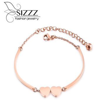 SIZZZ 2017 Titanium fashion ladies love rose gold bracelet  Bangles all-match temperament For Women/Girl