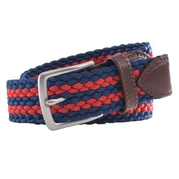 Braided Elastic Striped Web Belt in Sea Coral by Southern Tide