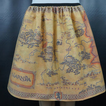 Narnia inspired skirt - map of Narnia - made to order