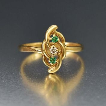 Sparkling Emerald and Diamond Gold Estate Ring