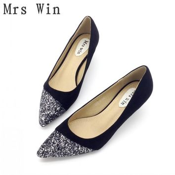 2018 Spring Autumn Shoes Women Pumps High Heels Shoes Bling Pointed Toe Slip-On Ladies Single Shoes Feminino Footwear Plus Size