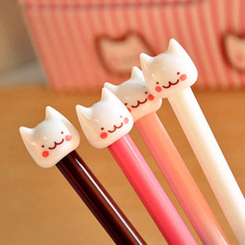 Cute Kawaii Cat Kitten Black Gel Pens Korean Stationery, Drawing, School Supply , Planner
