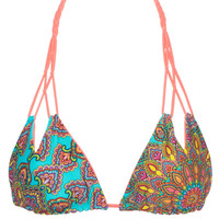Luli Fama Suenos Estrellados - Reversible Zig Zag Cut Out Knotted Triangle Bikini Top