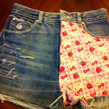 High Waisted Shorts hello kitty Vintage Studs American Apparel Indie Fashion Hipster Unique Denim Frayed Style Fashion Hippie Grunge