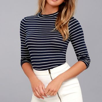Anything is Posh-ible Navy Blue Striped Top