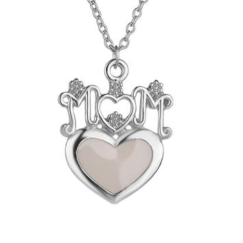 Heart Glow In The Dark Mom Pendant Necklace
