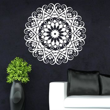 New Year 2017 Home Decoration Indian Round Mandala Yoga Wall Sticker Vinyl Removable Waterproof Mural Living Room Bedroom MA-18
