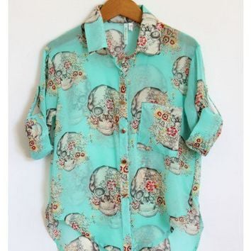 Skulls and Flowers Turquoise Blouse - New Arrivals