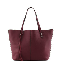 Pebbled Leather Unlined Tote Bag, Port - Rebecca Minkoff