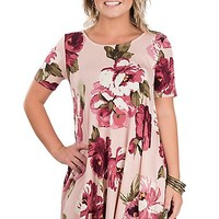 Jody Women's Pink Floral Print Short Sleeve Dress