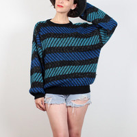 Vintage 80s Sweater New Wave Black Gray Teal Blue Green 1980s Sweater Pullover Jumper Abstract Mod Striped Knit Boyfriend Sweater L Large XL