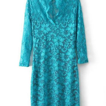 Streetstyle  Casual Green Floral Lace Draped Deep V 3/4 Sleeve Mini Dress