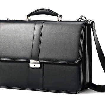 Samsonite Leather Flapover Briefcase Black 17""