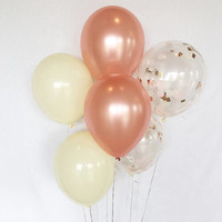 Rose Gold Confetti Balloons Rose Gold Ivory Latex Balloons Rose Gold Bridal Shower Rose Gold Wedding Rose Gold Balloons Bachelorette Party