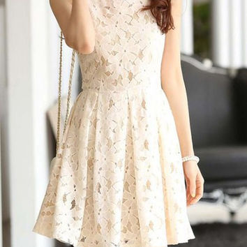 White Lace Sleeveless Mini Dress
