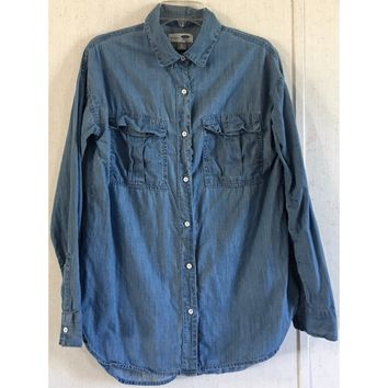 Old Navy Tall Boyfriend Chambray Shirt Blue Light Wash Blouse Button Up Top S
