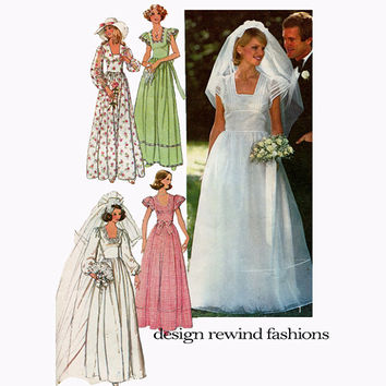 1970s WEDDING DRESS PATTERN Country Prairie Boho Bridal Gown Bridesmaid Dress Simplicity 7886 Vintage Womens Sewing Patterns Bust 32.5 UNCuT