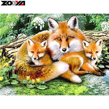ZOOYA 5D DIY Diamond embroidery Fox family diamond painting Cross Stitch full square drill Rhinestone mosaic home decoration ZS