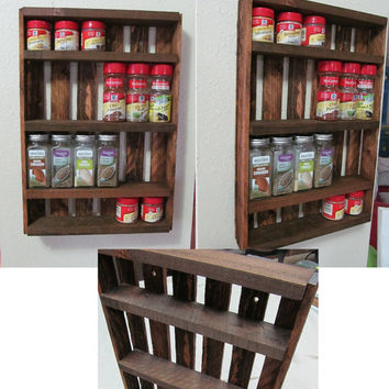 Wooden Spice Rack ~ 8 colors & 3 Sizes to choose from ~ Vintage Crate Inspired ~ FREE SHIPPING
