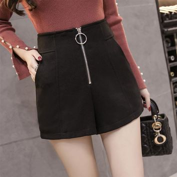 Autumn Winter New Women Woolen Shorts Fashion High Waist Zipper Wool Shorts Black/Khaki All-match Boots Shorts