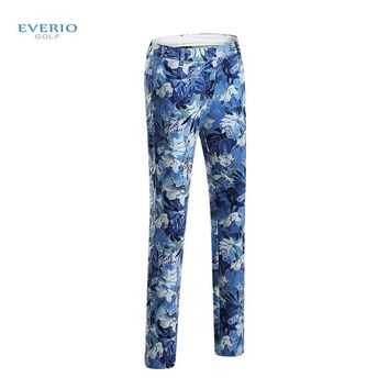 New Women's flower printing golf long trousers thicking autumn and winter sports trousers thermal fleece female slim golf pant