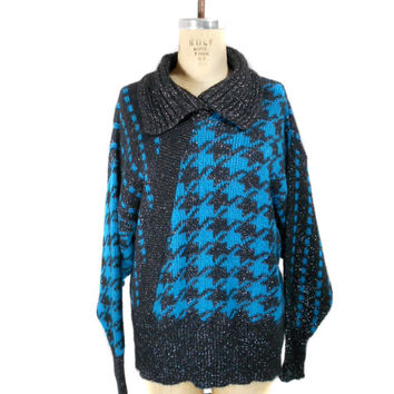 1980s Jaeger Houndstooth Sweater - Black Teal Silver - Metallic Lurex Knit - Collared Pullover Sweater -  Oversized Sweater - Size Large