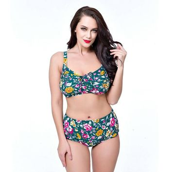 Sexy Floral printed high waist bikini push up plus size tankini set high neck swimsuit bottom for women bathing suit female