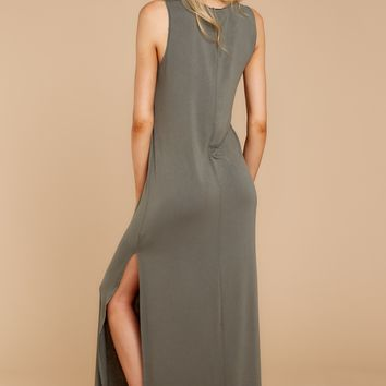 High Slit Maxi Dress In Ash Green