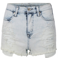 Womens Casual High Waisted Distressed Cutoff Denim Shorts with Stretch