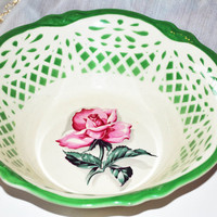 Vintage Homer Laughlin Virginia Rose Bowl-Vintage Green Design Vegetable Bowl-GreenJ 55 N 8