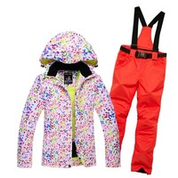 Cheaper woman skiing suit sets snowboarding clothes waterproof windproof winter Snow Costumes jackets +bibs pants Ski suit Hot